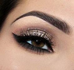 Glamorous eye makeup.