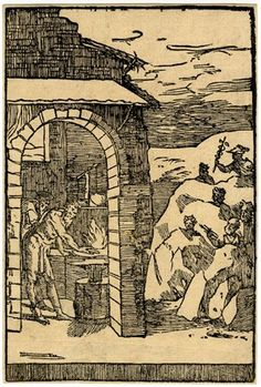 The blacksmith working at his forge, from a series of ten prints Woodcut