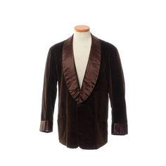 Vintage 60s Mens Dark Brown Velvet Tuxedo Jacket 1960s Satin