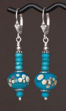 Turquoise and Ivory Dots Lamp work beads made by Jennifer Jennings of Blue Seraphim with natural Turquoise Earrings in Sterling Silver