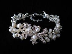 Bracelet.   Pearl Rhinestone bracelet.Bridal by ShesAccessories, $59.95