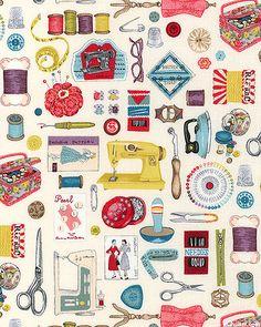 retro sewing print