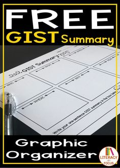 Free GIST Summary printable! Use the GIST Summary graphic organizer to teach students how to identify the main idea and key details.  Great for reading comprehension! #readingcomprehension #freeprintable #freebie #gistsummary #summarywriting