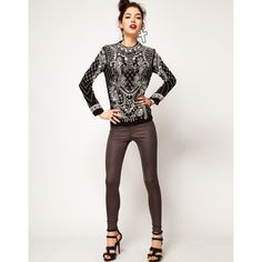 ASOS | ASOS Top with Pearl Grid Embellished Armour at ASOS ($105) via Polyvore