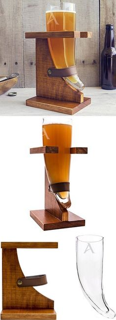 Raise this 16 ounce glass drinking horn personalized with large single initial and cheer to good times. A truly unique gift for the man who enjoys drinking beer, good times and being the center of attention, this Viking beer horn glass and wood stand is a functional novelty to set in the home bar or man cave for fun conversation and memorable times. This set can be ordered at