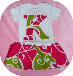 Super cute monogrammed onesie dress for baby girl!
