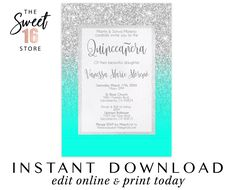 Check out our quinceanera invitation printable selection for the very best in unique or custom, handmade pieces from our invitations & announcements shops. Diy Birthday Invitations, Quince Invitations, Sweet Sixteen Invitations, Quinceanera Invitations, Elegant Invitations, 16th Birthday Gifts, Sweet 16 Birthday, Teen Birthday, Birthday Surprise Boyfriend
