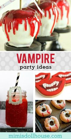 Halloween: Vampire Party Desserts and Food Ideas. Here's a Halloween theme you can really sink your teeth into? Vampire Party Ideas for desserts and treats! via halloween baking ideas Halloween Desserts, Vampire Halloween Party, Halloween Themed Food, Halloween School Treats, Hallowen Food, Halloween Party Supplies, Halloween Birthday, Halloween Party Decor, Easy Halloween