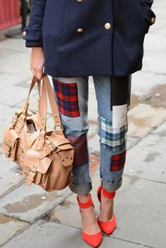 Primark Tartan jeans £15 EJSTYLE Fashion Blog (by Emma Hill) Mulberry roxanne bag, New Look red heels