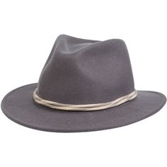 Brixton Corbet Fedora ($54) ❤ liked on Polyvore featuring accessories, hats, grey, grey hat, brimmed hat, gray fedora, brixton fedora and brixton hats