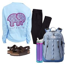 """""""School life basically looking bad everyday."""" by ambermillard ❤ liked on Polyvore featuring Birkenstock, H&M, The North Face and CamelBak"""