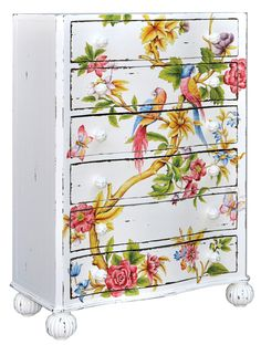 Steven Shell's tropical-painted 6-drawer chest. Light & lovely, would work in my tropical-wanna-be bedroom!