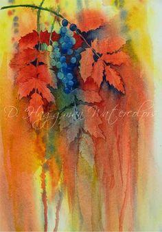 Oregon Grapes Watercolor Flowers, Watercolor Paintings, Oregon Grape, Botanical Illustration, Watercolors, Blade, Tattoo Ideas, Plant Leaves, Diy Crafts