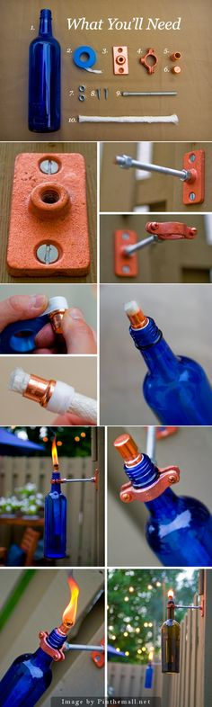 How to Make a Recycled Wine Bottle Tiki Torch - DIY for Life