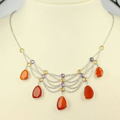 Sale Vintage Carnelian Quartz Necklace Ready to by TRIPLEPJEWELRY, $81.00