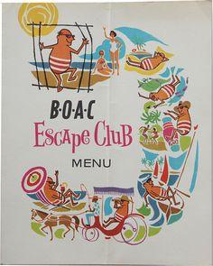 BOAC Escape Club airline menu  1960s