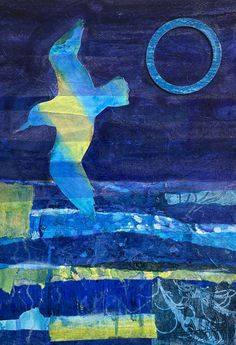 A blue day with gull and blue sun original/unframed