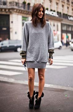 christine centenera sweater dress boots street style
