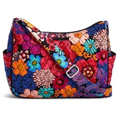 Vera Bradley On the Go Crossbody (895 MXN) ❤ liked on Polyvore featuring bags, handbags, shoulder bags, floral fiesta, vera bradley crossbody, floral purse, floral shoulder bag, zipper shoulder bag and hobo shoulder bags