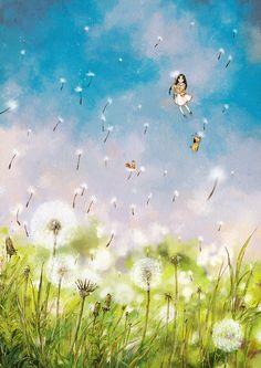 포근한 바람결,  민들레 홀씨 타고 봄이 왔어요.  A cozy wind blowing. Spring has come along with the dandelion spores.