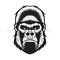 Stock vector of 'gorilla head vector graphic illustration black and white'