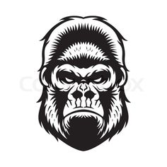 Stock vector of 'gorilla head vector graphic illustration black and white'