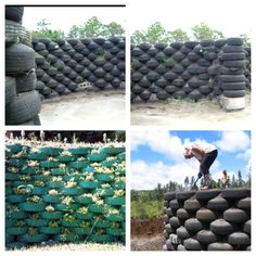 Tire fence, it'd be great to use all those disposed of tires in those landfills..... Wonder if I can get my ole man to sign up for this one and get free tires from the dump?