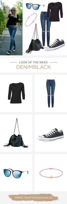 Ein Must-Have für jeden Kleiderschrank: DIE perfekt sitzende Jeans! Wir kombinieren sie heute mit schwarzen Details.