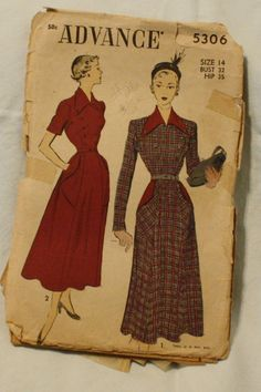 Advance 5306 Vintage 1950s Dress Sewing by EleanorMeriwether, $12.00