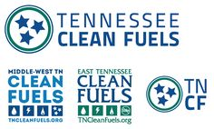 """The logos for the """"Tennessee Clean Fuels"""" partnership between the U. DOE designated coalitions, East TN and Middle-West TN. The smaller logo at right is one we use sometimes for social media. Domestic Cleaners, East Tennessee, Middle, Social Media, Cleaning, Logos, Design, Logo"""