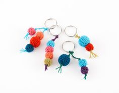 DIY Crocheted Key Ring Bobbles--free pattern.  Make Dad a Father's Day gift he can really use.