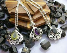 Amethyst Jewellery – 3 Pcs Amethyst,Lemon Topaz ,Onyx Silver Pendant – a unique product by IndianCraftPalace on DaWanda