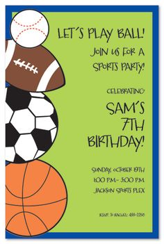 Sports birthday party invitations sports birthday invitations sports invitations stopboris Images