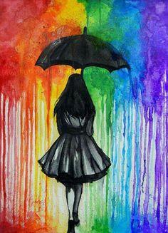 in The Rain Melted crayon art is a great aftermath. Hiking in The Rain Melted crayon art is a great aftermath. Hiking in The Rain Melted crayon art is a great aftermath. Umbrella Art, Umbrella Painting, Black Umbrella, Rainbow Art, Rainbow Colors, Rainbow Drawing, Rainbow Things, Rainbow Magic, Rainbow Pride