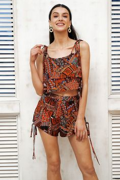 Coolred-Women Straps Printed Wrapped Off-Shoulder Hollow Jumpsuit Romper