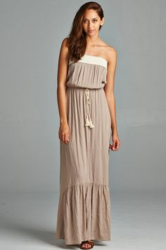 taupe and ivory drawstring maxi dress