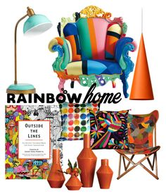 """Rainbow home"" by lucy-liefman ❤ liked on Polyvore featuring interior, interiors, interior design, home, home decor, interior decorating, Aniza, PBteen, Global Views and Wästberg"
