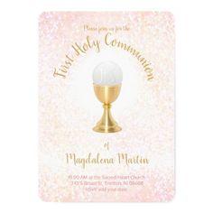 First Holy Communion Catholic girl Invitation   Zazzle.com