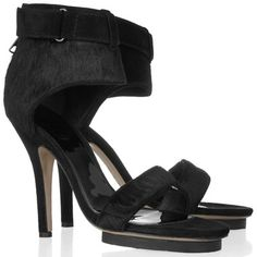 Pony Calf Hair Sandals  These Acne strappy heels are more than a suitable replacement for your classic black pump.