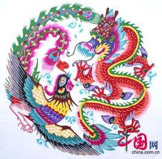 Phoenix and Dragon paper cut