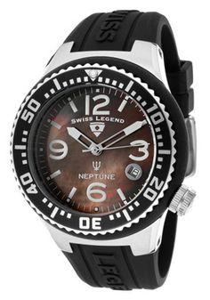 Swiss Legend Watch 11044P 01MOP Neptune 44 mm Black MOP Dial Black Silicone | eBay