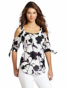 Karen Kane Women's Tie Sleeve Cold Shoulder Top « Clothing Impulse❤️Black & White prints & off the shoulder blouses! Diy Fashion, Fashion Dresses, Womens Fashion, Fashion Design, Blouse Styles, Blouse Designs, Indian Designer Wear, Corsage, Cute Tops