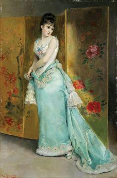 """Lady in a Blue Dress"", c. 1873, by Rogelio Egusquiza de Santander (Spanish, 1845-1915)"