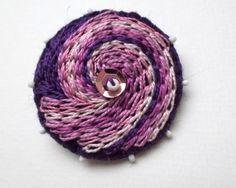 Hand embroidered felt brooch / wool felt brooch / felt jewelry / purple / pin