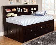 These classy and stylish twin captain beds with storage are the perfect functional solution for a space where you need a versatile bed that can double as a couch, while also providing lots of convenient storage to keep you organized. The espresso finish on these twin captain beds is also truly timeless, with a rich, smoky quality that makes these eye catching pieces wherever they are placed.