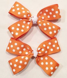 Orange Polka Dot Bows by LittleAsAccessories on Etsy