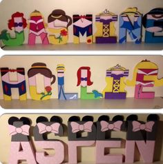Disney princess and Minnie Mouse inspired character wall letters. www.facebook.com/missylissyletters