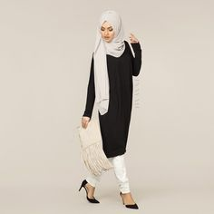 INAYAH | Black Cocoon Midi Dress + Feather Grey Maxi Georgette Hijab + White Trousers Coming Soon | www.inayahcollection.com #inayah#modestfashion#hijabi