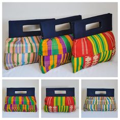Make a bold fashion statement with this cloth made from authentic hand-woven Kente fabric from Ghana!Historically, kente was reserved for special occasions, both festive and sacred. Kente also stands as a symbol of prestige, cheerfulness and glamour. The fully lined bag features an internal pocket with zipper, and the main bag also fastens with a zipper.