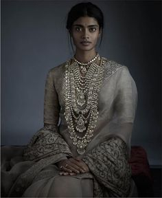 A statement necklace that is an ode to the resplendence of Mughal jewellery, crafted with uncut diamonds, emeralds and Japanese cultured… Sabyasachi Sarees, Lehenga Choli, Indian Attire, Indian Wear, Indian Dresses, Indian Outfits, Indian Clothes, Priyanka Chopra Wedding, Mughal Jewelry